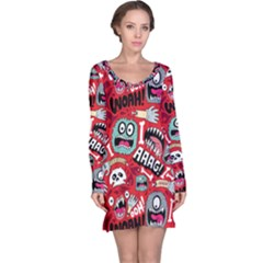 Agghh Pattern Long Sleeve Nightdress