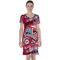Agghh Pattern Short Sleeve Nightdress