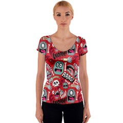 Agghh Pattern Women s V-Neck Cap Sleeve Top