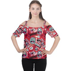 Agghh Pattern Women s Cutout Shoulder Tee