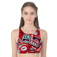 Agghh Pattern Tank Bikini Top