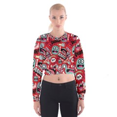 Agghh Pattern Women s Cropped Sweatshirt