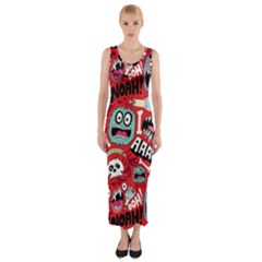 Agghh Pattern Fitted Maxi Dress