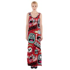 Agghh Pattern Maxi Thigh Split Dress