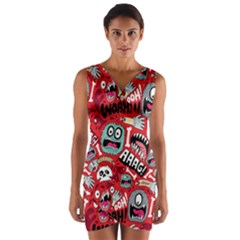Agghh Pattern Wrap Front Bodycon Dress