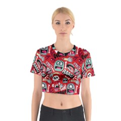 Agghh Pattern Cotton Crop Top