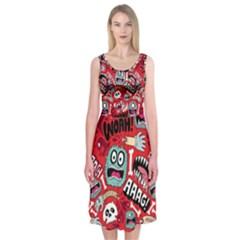 Agghh Pattern Midi Sleeveless Dress