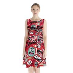 Agghh Pattern Sleeveless Chiffon Waist Tie Dress