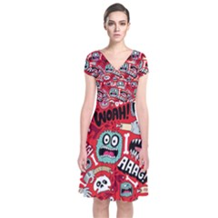 Agghh Pattern Short Sleeve Front Wrap Dress