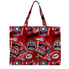Agghh Pattern Medium Zipper Tote Bag