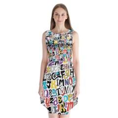 Alpha Pattern Sleeveless Chiffon Dress