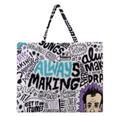 Always Making Pattern Zipper Large Tote Bag