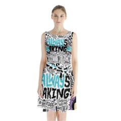 Always Making Pattern Sleeveless Chiffon Waist Tie Dress