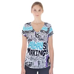 Always Making Pattern Short Sleeve Front Detail Top