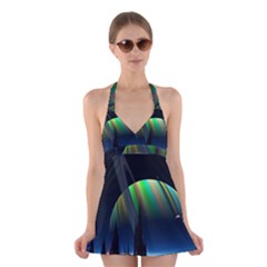 Planets In Space Stars Halter Swimsuit Dress