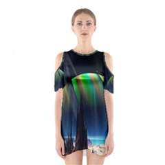 Planets In Space Stars Cutout Shoulder Dress