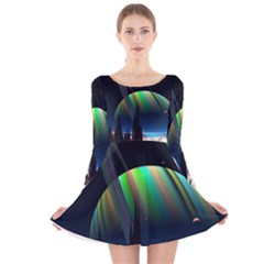 Planets In Space Stars Long Sleeve Velvet Skater Dress