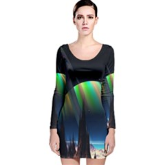 Planets In Space Stars Long Sleeve Velvet Bodycon Dress