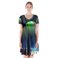 Planets In Space Stars Short Sleeve V-neck Flare Dress