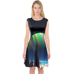 Planets In Space Stars Capsleeve Midi Dress
