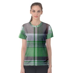 Plaid Fabric Texture Brown And Green Women s Sport Mesh Tee