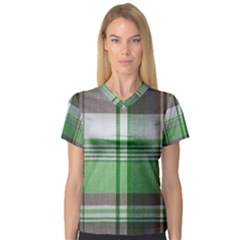 Plaid Fabric Texture Brown And Green Women s V-Neck Sport Mesh Tee