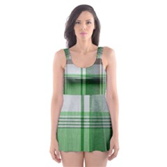 Plaid Fabric Texture Brown And Green Skater Dress Swimsuit