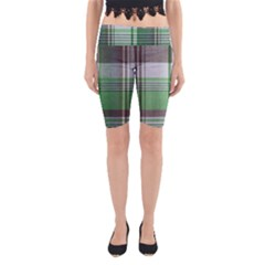 Plaid Fabric Texture Brown And Green Yoga Cropped Leggings