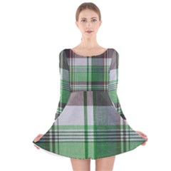 Plaid Fabric Texture Brown And Green Long Sleeve Velvet Skater Dress