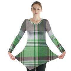 Plaid Fabric Texture Brown And Green Long Sleeve Tunic