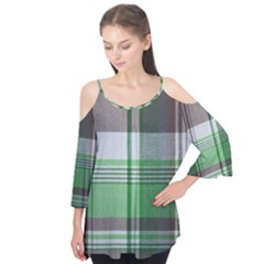 Plaid Fabric Texture Brown And Green Flutter Tees