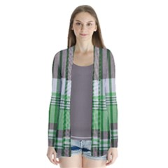 Plaid Fabric Texture Brown And Green Drape Collar Cardigan