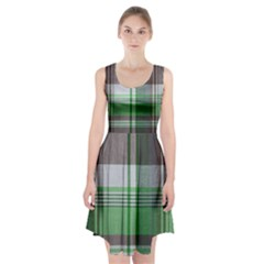 Plaid Fabric Texture Brown And Green Racerback Midi Dress