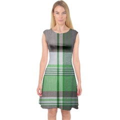 Plaid Fabric Texture Brown And Green Capsleeve Midi Dress