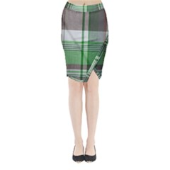 Plaid Fabric Texture Brown And Green Midi Wrap Pencil Skirt