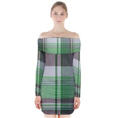 Plaid Fabric Texture Brown And Green Long Sleeve Off Shoulder Dress