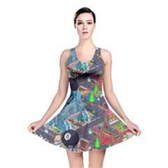Pixel Art City Reversible Skater Dress