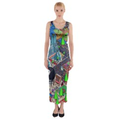 Pixel Art City Fitted Maxi Dress