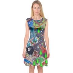 Pixel Art City Capsleeve Midi Dress