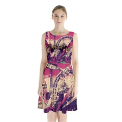 Pink City Retro Vintage Futurism Art Sleeveless Chiffon Waist Tie Dress