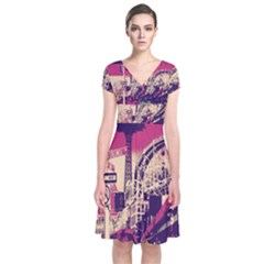Pink City Retro Vintage Futurism Art Short Sleeve Front Wrap Dress