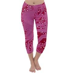 Pink Circuit Pattern Capri Winter Leggings