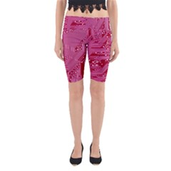 Pink Circuit Pattern Yoga Cropped Leggings