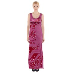 Pink Circuit Pattern Maxi Thigh Split Dress