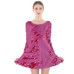 Pink Circuit Pattern Long Sleeve Velvet Skater Dress