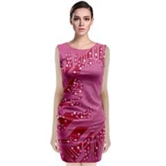 Pink Circuit Pattern Classic Sleeveless Midi Dress