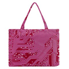 Pink Circuit Pattern Medium Zipper Tote Bag