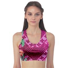 Pink Batik Cloth Fabric Sports Bra