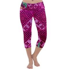 Pink Batik Cloth Fabric Capri Yoga Leggings