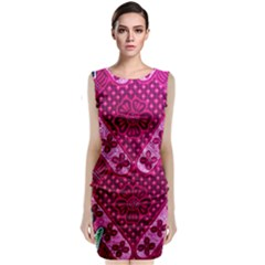 Pink Batik Cloth Fabric Classic Sleeveless Midi Dress
